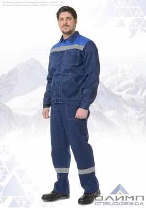 """Костюм рабочий мужской """"Нео 12"""" синий с васильком и СОП (куртка с брюками)"""