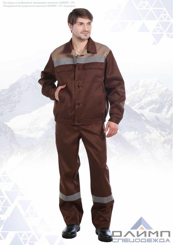 """Костюм мужской """"Бригадир 23"""" коричневый с бежевым и СОП"""