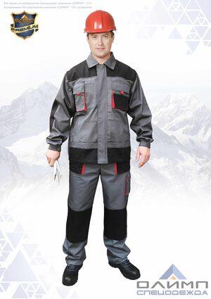 """Костюм мужской летний """"Вейс 15"""" серый с чёрным и красным  (куртка с брюками)"""