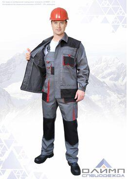 """Костюм мужской летний """"Вейс 25"""" серый с чёрным и красным (куртка с полукомбинезоном)"""