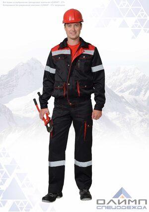"""Костюм мужской летний """"Буст 22"""" чёрный с красным и СОП (куртка с полукомбинезоном)"""