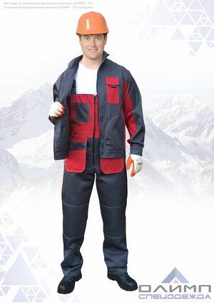 """Костюм мужской летний """"Буст 24"""" серый с красным (куртка с полукомбинезоном)"""