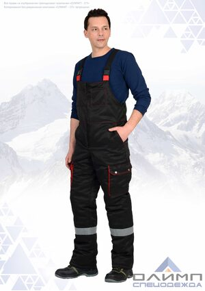 """Костюм мужской зимний """"Буст 225"""" чёрный с красным и СОП"""