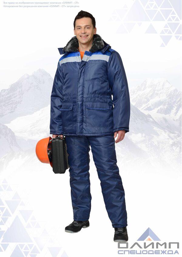 """Куртка """"Бригадир 11"""" зимняя тёмно-синяя с васильком и СОП"""