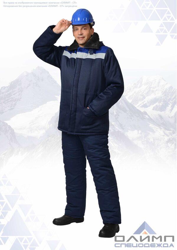 """Куртка """"Бригадир 21"""" зимняя тёмно-синяя с васильком и СОП"""